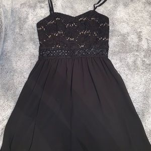 Black Sequin Top Dress
